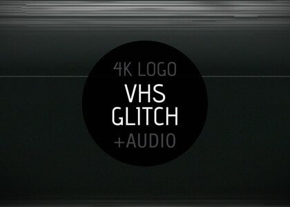 VHS Glitch After Effects intro logo reveal template