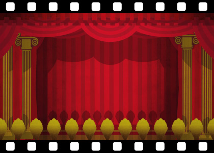Theatre_Curtains_Green_Screen_HD stock video animated clip