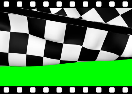 Chequered_Flag_Over_Green stock video animated clip