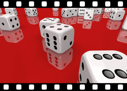 Dice_Falling_On_Red stock video animated clip