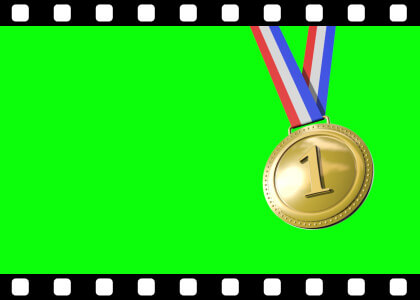 Winning medals on green screen stock video animated clip