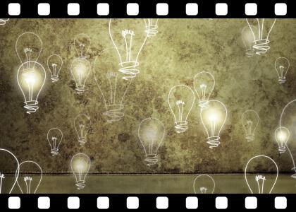 Light_Bulbs_Rising_On_Grunge_Loop stock video animated clip