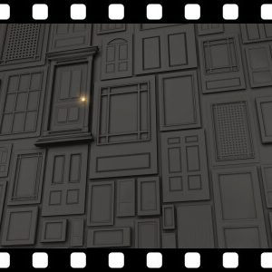 Multiple_Doors_To_Green Screen background video animation