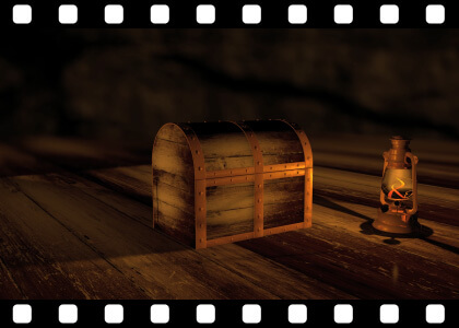 Treasure chest to green screen stock video animated clip
