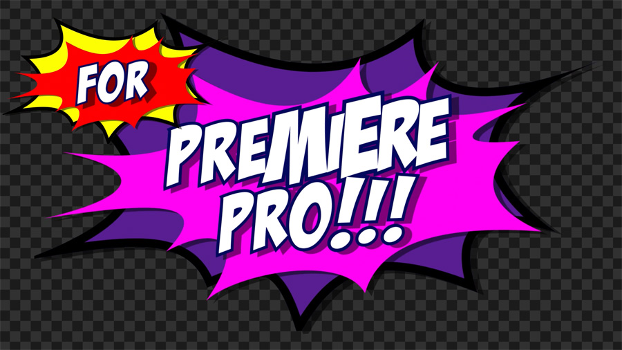 Comic book cartoon flash motion graphics transition for Premiere
