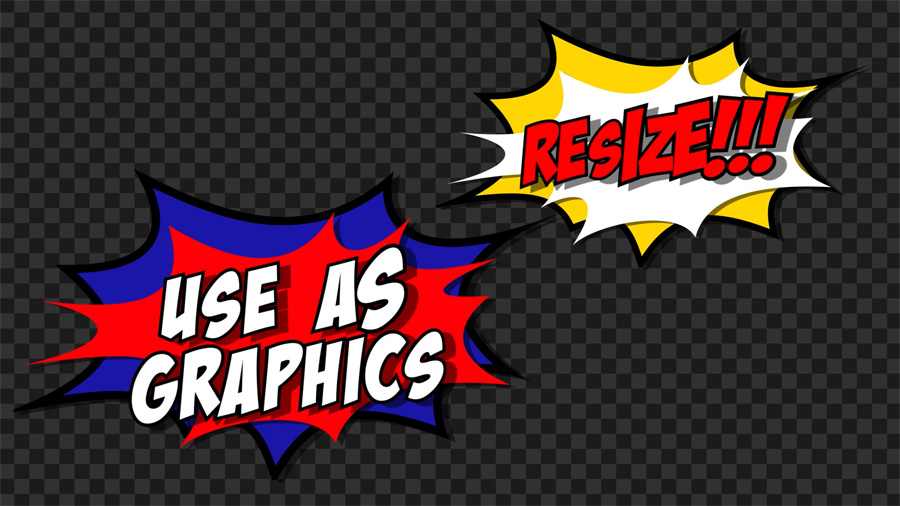 Comic book cartoon flash motion graphics transition transparent background