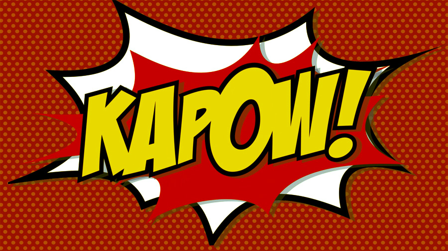 Kapow comic book cartoon flash motion graphics transition MOGRT