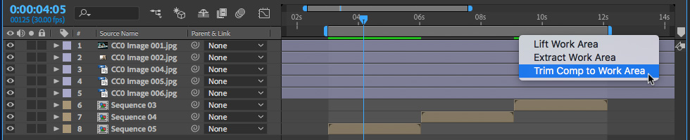 01 How to Trim Comp to Work Area in After Effects