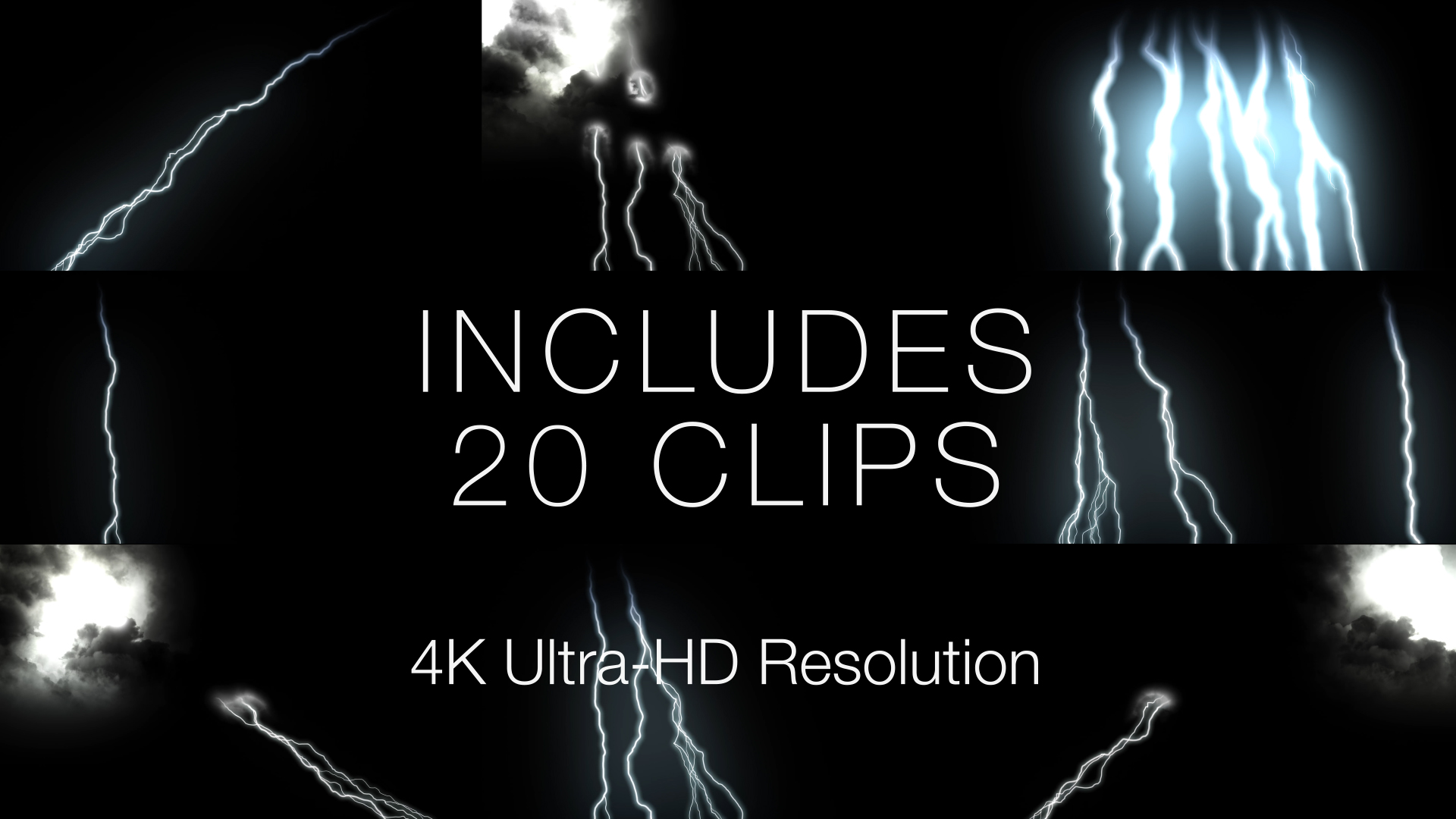 Lightning Strike Overlays Includes 20 Clips
