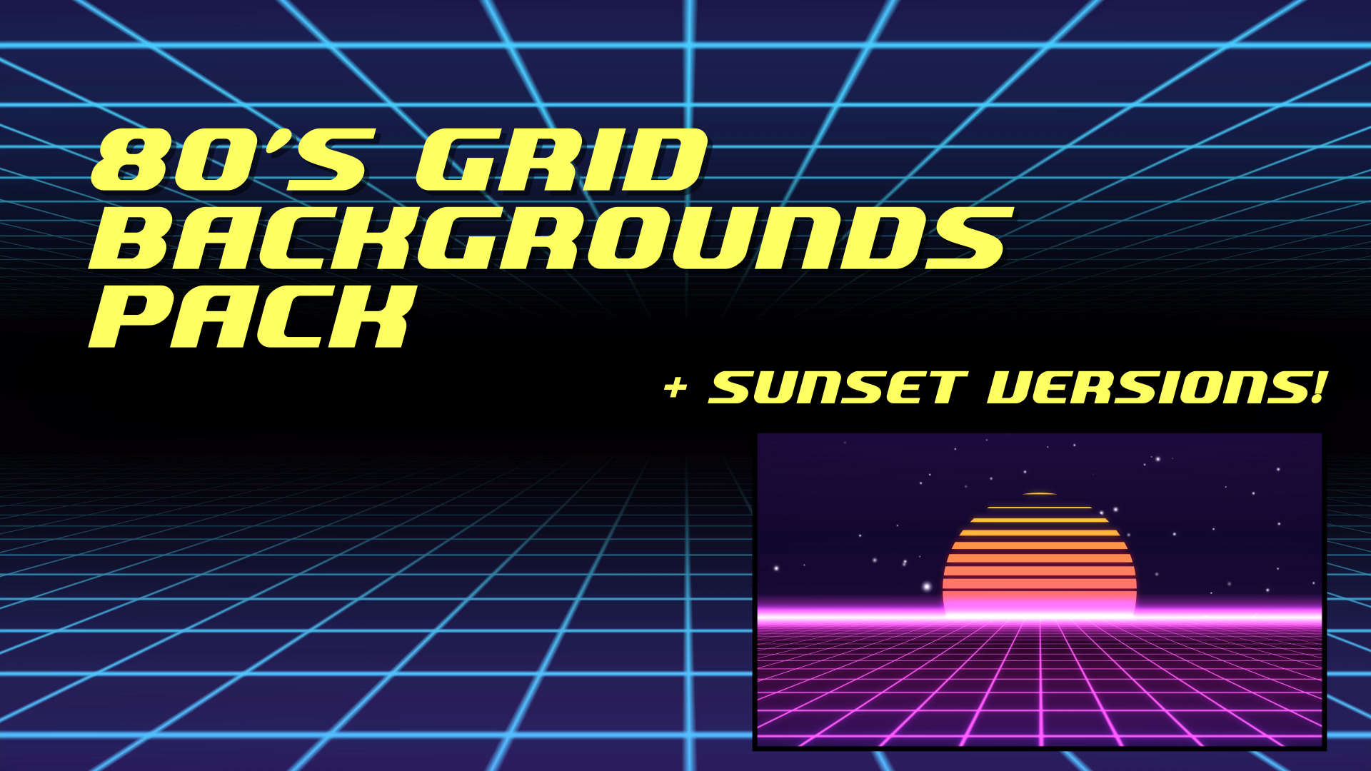 80s Grid Background Animations Pack Stock Footage Still HD