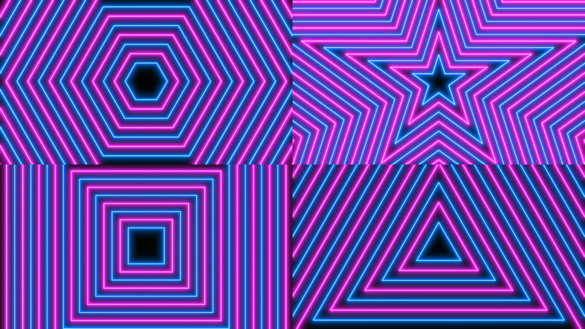 Neon Radial Pattern Animation Stock Footage Pack 2