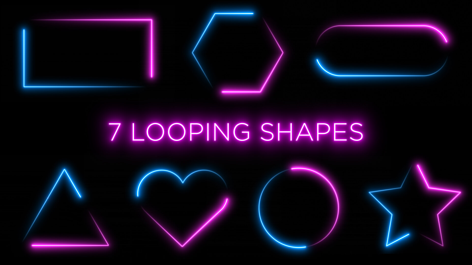 Neon Shape Frame Animation Stock Footage Pack 1
