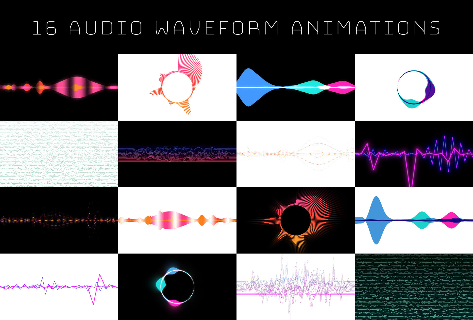 Speech Waveform Animation Stock Footage Pack 1