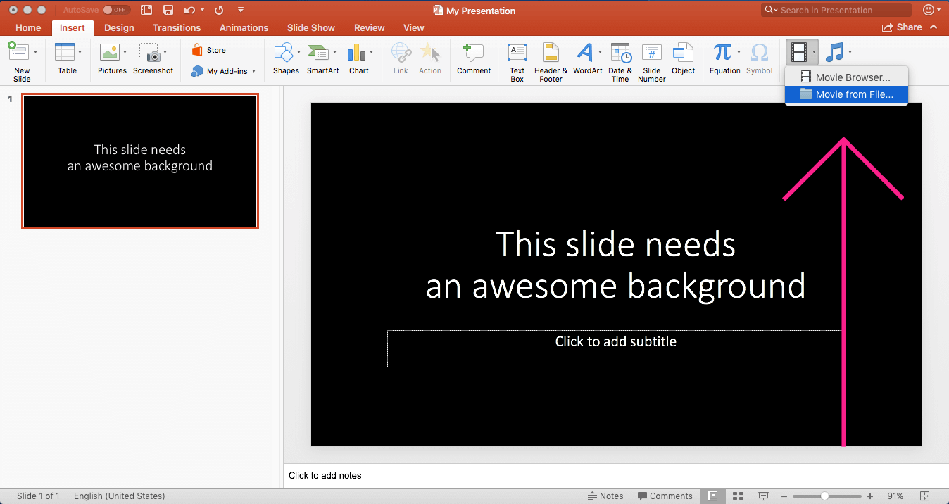 Insert Movie from File Video in Powerpoint