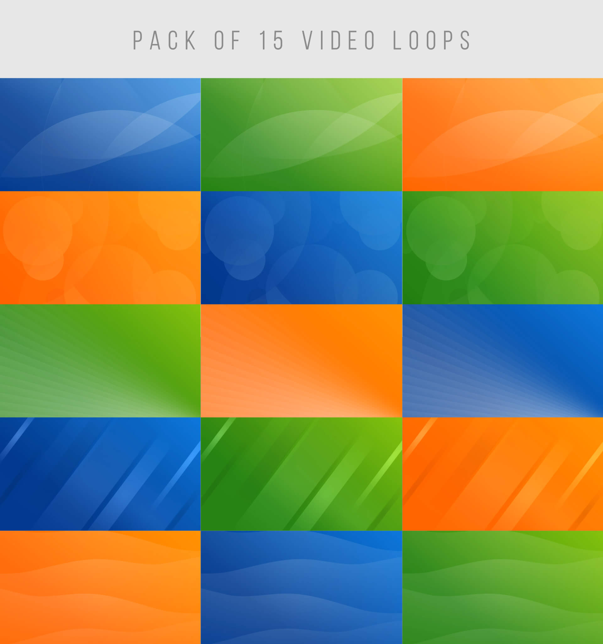 Pack of 15 video background loops gradients