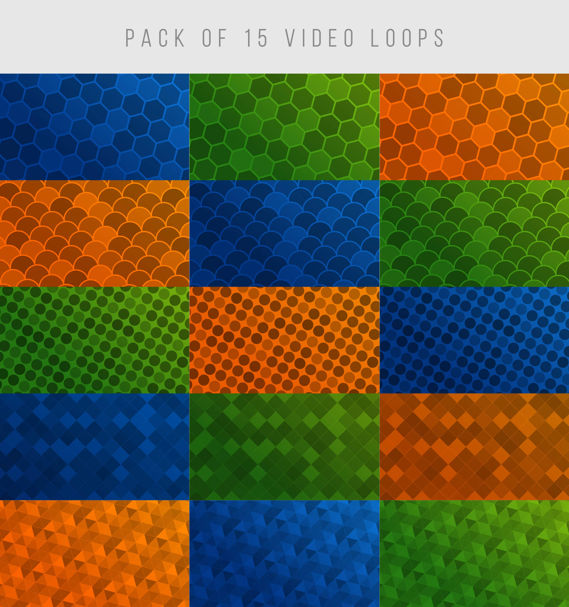 Pack of 15 video background loops patterns
