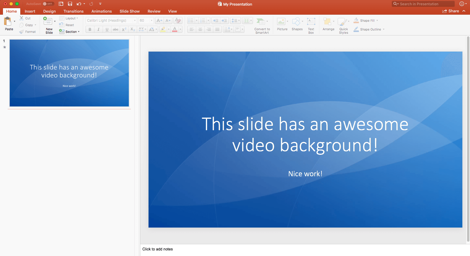 PowerPoint Slide with Video Background