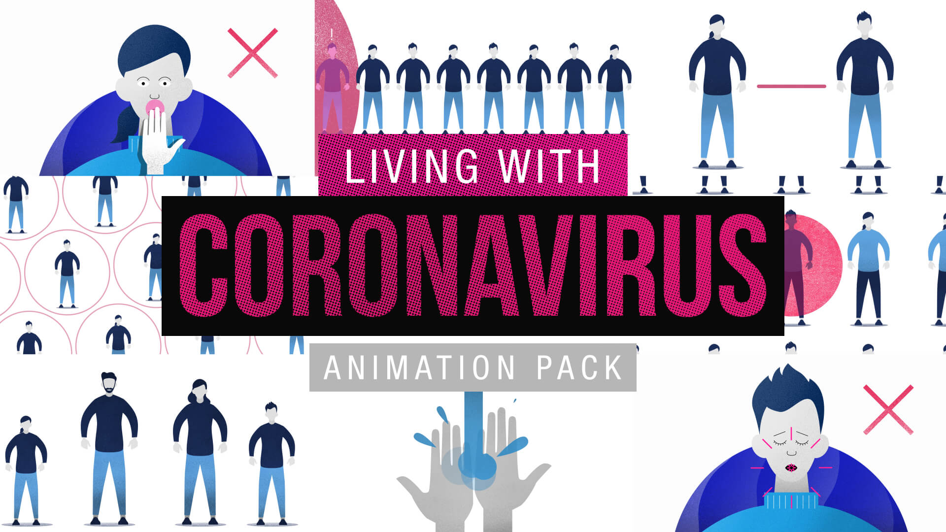 Living With Coronavirus Stock Footage Animations Pack