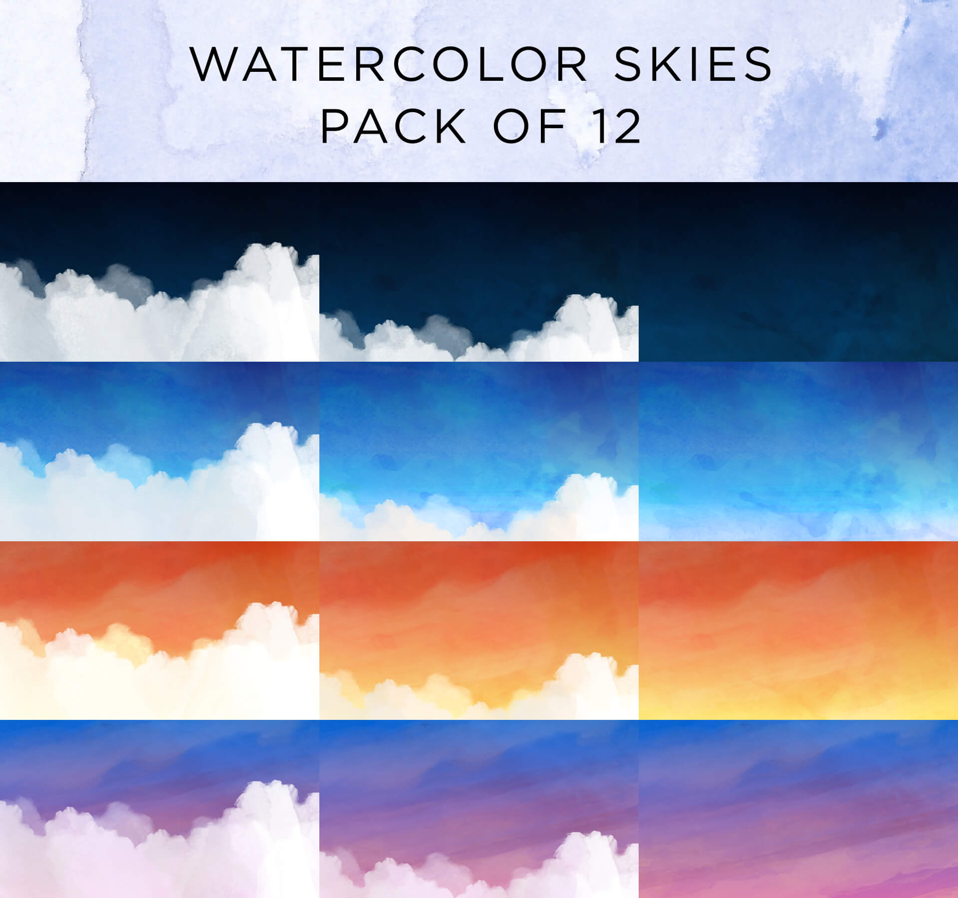 Watercolor Skies Animated Background Pack 1