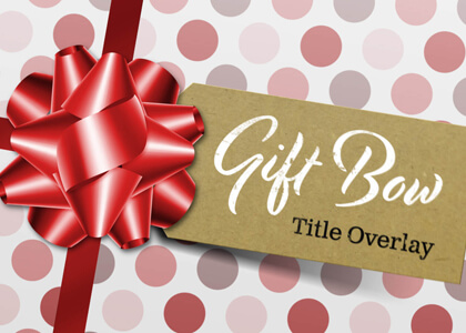 Gift Tag And Ribbon Bow Title Overlay Premier Pro MOGRT Feature