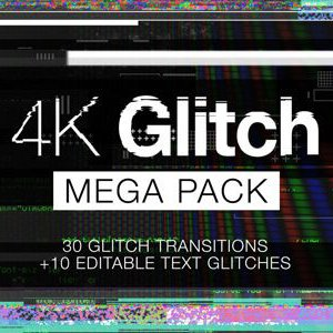 Glitch overlay effect and video transition pack for After Effects and Premiere