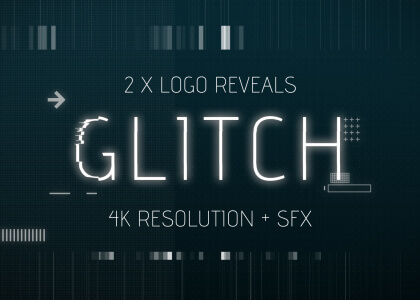 Glitch effect logo reveals After Effects templates