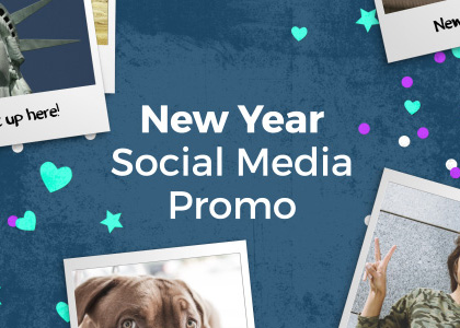 New Year social media free After Effects photo slideshow template