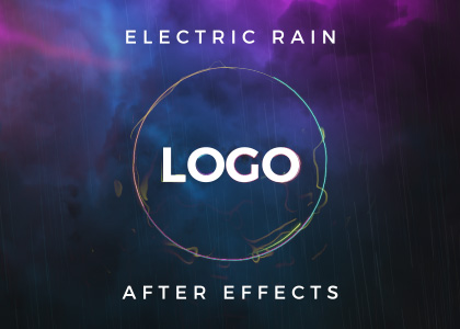Electric Rain free youtube intro logo reveal After Effects template