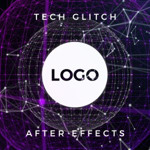 Glitch effect free youtube intro logo reveal After Effects template