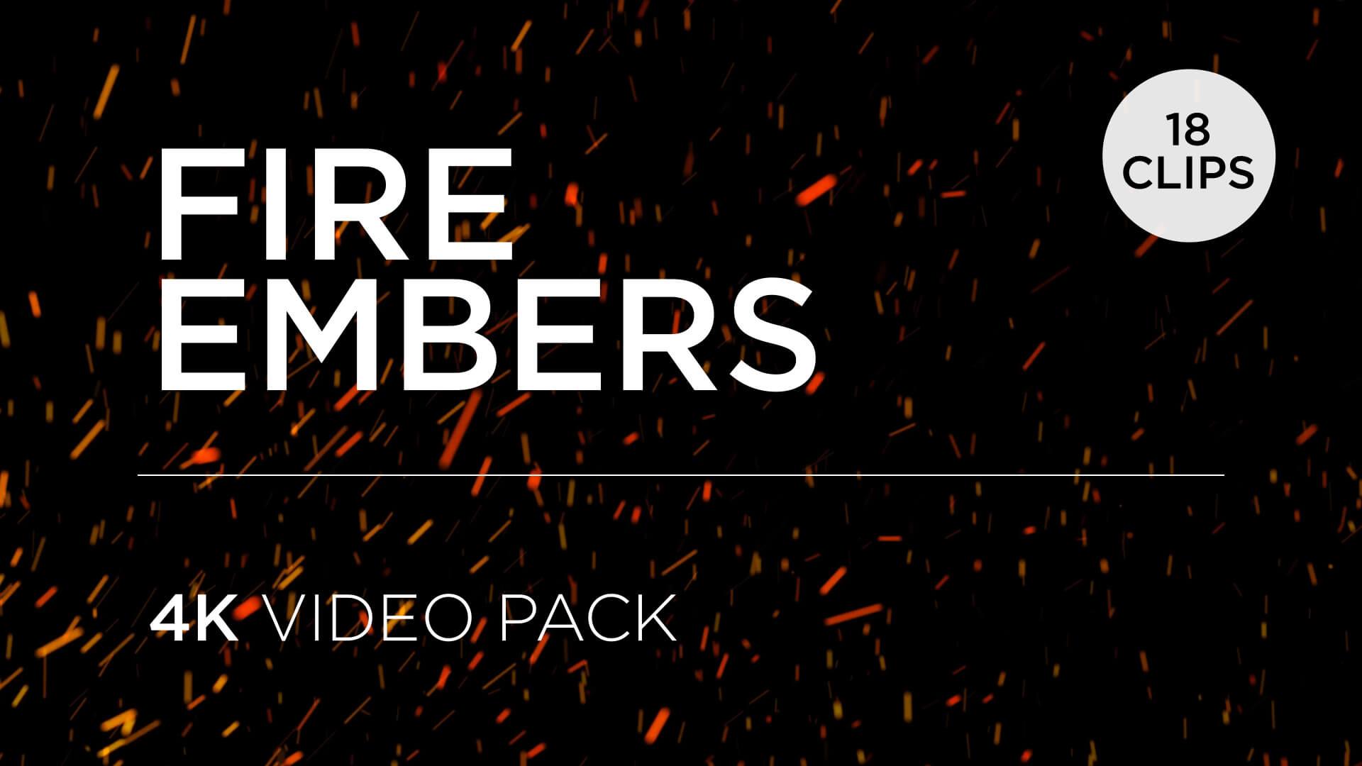 Fire Embers Overlay 4K Loops Pack
